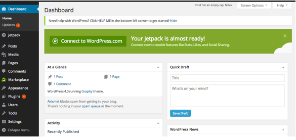 Screen Shot of Creating WordPress Pages