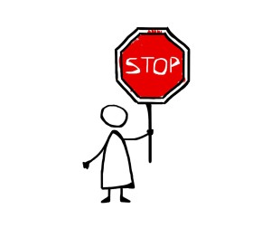 Stick figure holding a stop sign, stop marketing on social media!