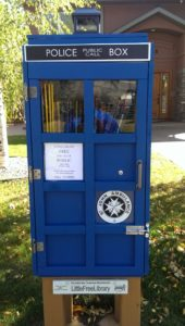 Tardis mini lending library