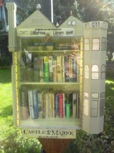 Castle styled mini lending library